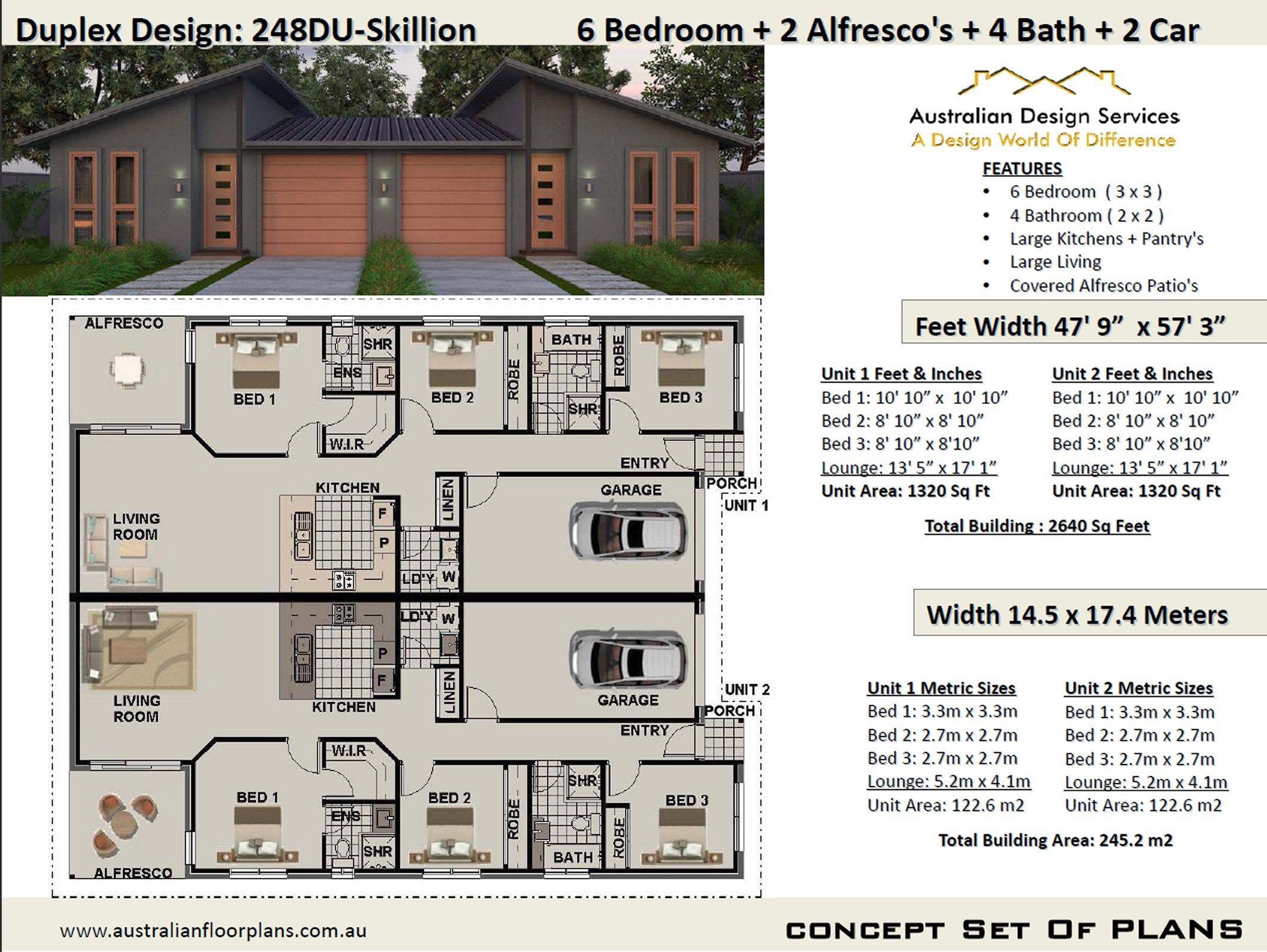Skillion Roof Duplex Plans 2640 Sq Foot Or 245 2 M2 Etsy Duplex Design Duplex Plans Duplex House Plans