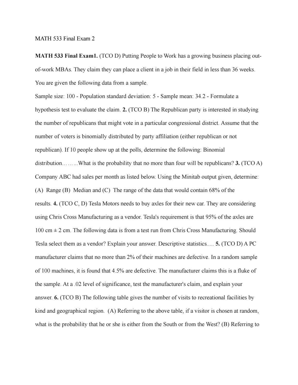 Math 533 Final Exam 2 Solved Best Price Philosophy Essay Moral Format