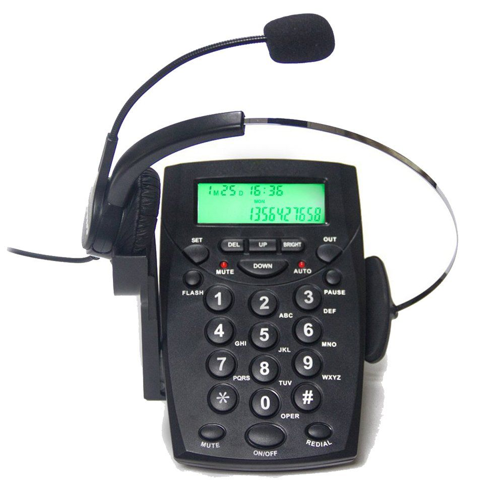 TelPal Corded Call Center Headset Telephone with Dialpad