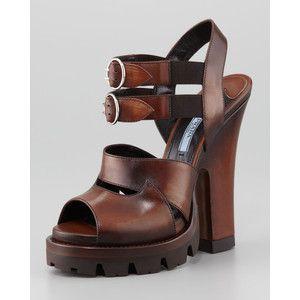 Prada High-Heel Double-Buckle Lug-Platform Sandal Teak Veexe
