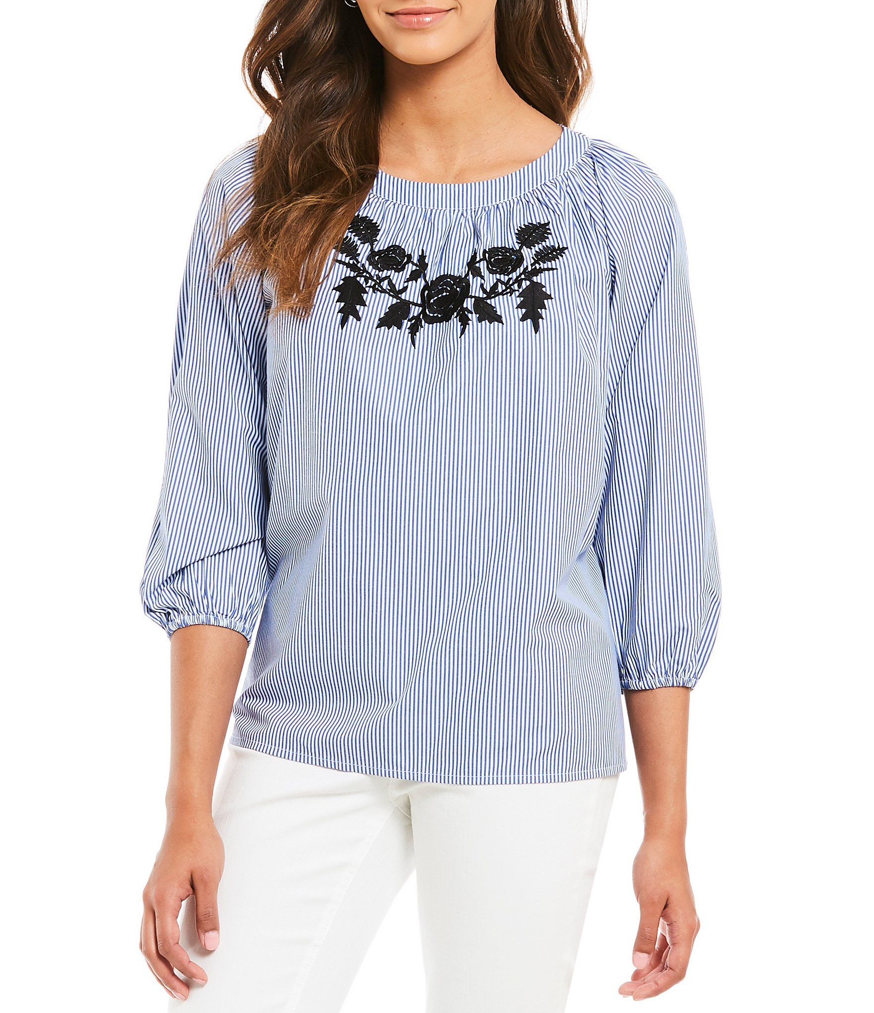 e63ce5767f5 Shop for Jones New York Off-The-Shoulder Floral Embroidered Stripe Novelty  Shirting Peasant Top at Dillards.com. Visit Dillards.com to find clothing