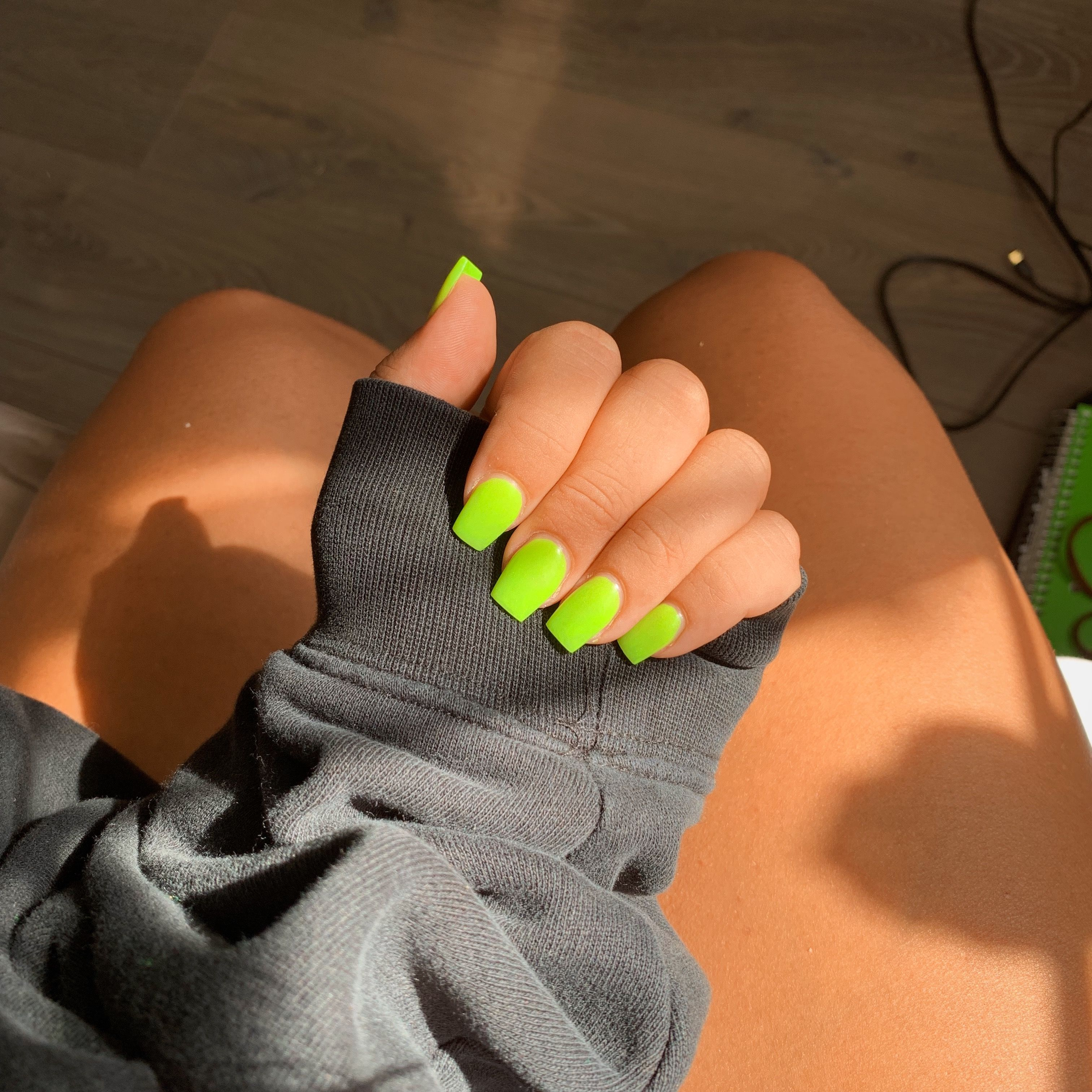 Neon Green Acrylic Coffin Nails Acrylic Nails Yellow Bright Acrylic Nails Coffin Shape Nails