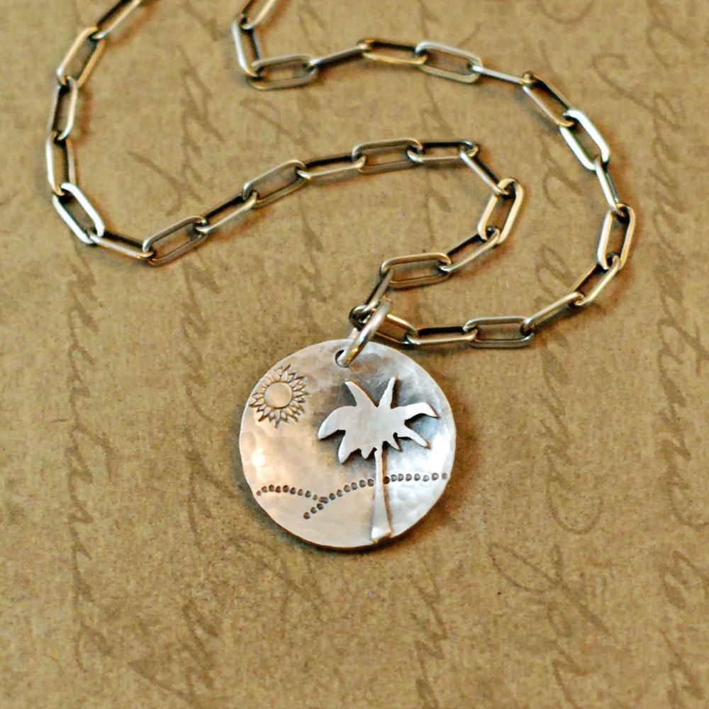 Sterling silver, necklace, pendant, sawed, soldered, palm tree, beach, Life's A Beach, ocean, sand, sun, handcrafted oxidized, rustic, chain by bytwilight on Etsy