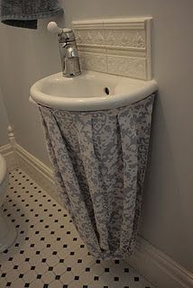 Rather Nice Tutorial To Hide Sink Pipes Bathroom Sink Skirt Under Bathroom Sinks Sink Skirt