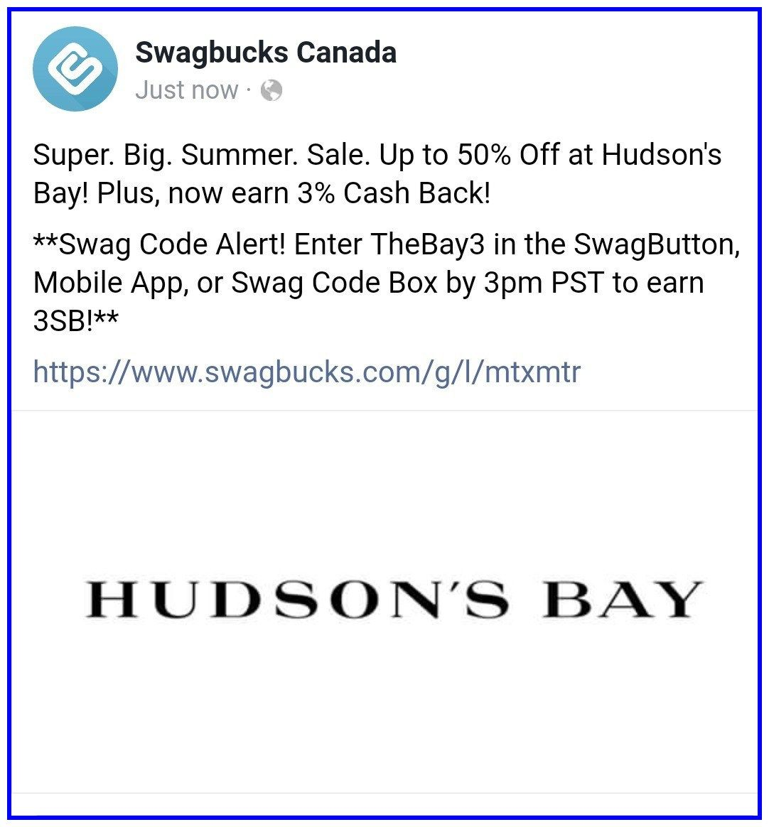 8 Pst To Aest swagbucks new #swagcode #3 #canada. please enter thebay3 at