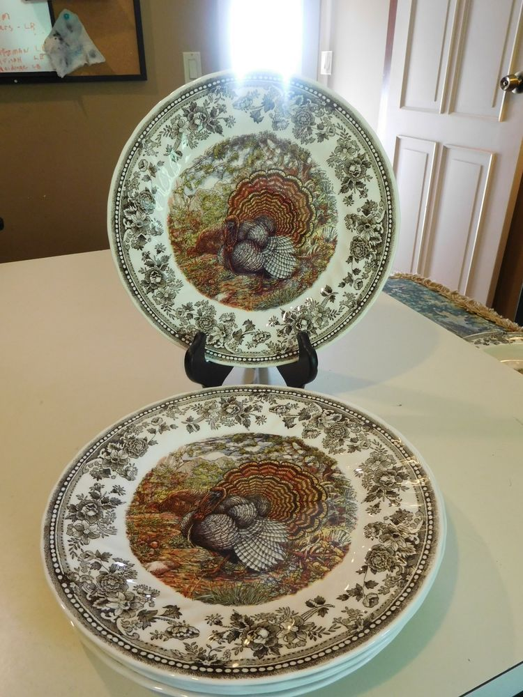 SET/4 QUEEN\u0027S *MAJESTIC BEAUTY* THANKSGIVING TURKEY DINNER PLATES 10-1/ & SET/4 QUEEN\u0027S *MAJESTIC BEAUTY* THANKSGIVING TURKEY DINNER PLATES 10 ...