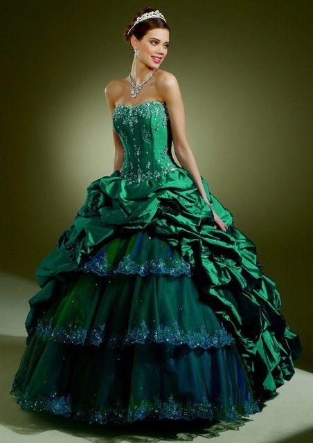 World Of Fashion Teal Green Peacock Inspired Wedding Dress