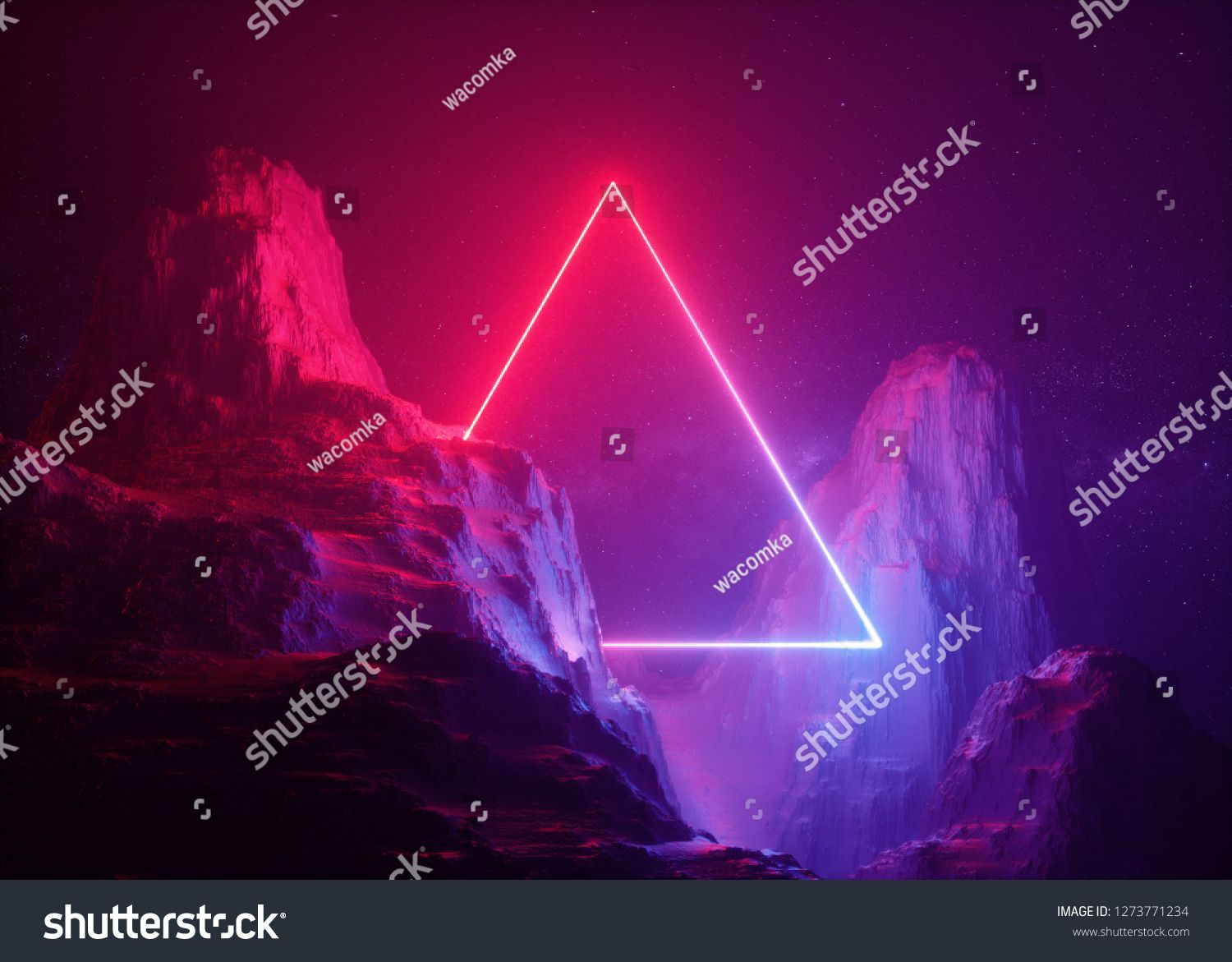 3d Render Abstract Background Cosmic Landscape Triangular