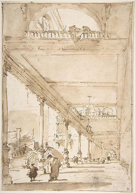 Architectural Capriccio: A Palace Colonnade. Francesco Guardi (Italian, Venice 1712–1793 Venice)