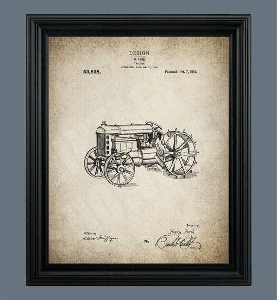 Vintage Ford Tractor - Patent Print - Farm Tractor - Henry Ford ...