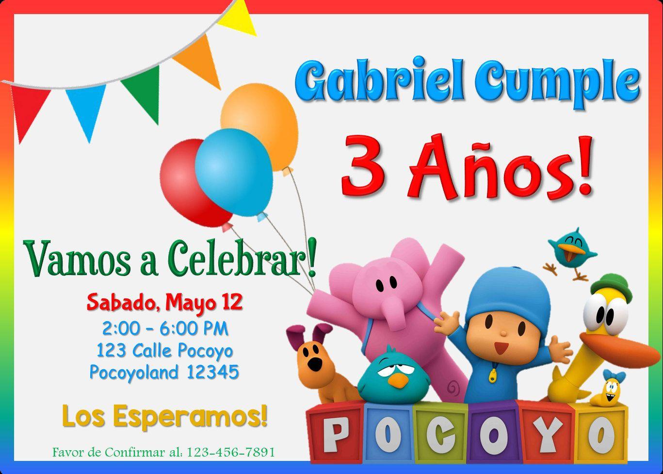 Invitación De Cumpleaños De Pocoyo Invitaciones De