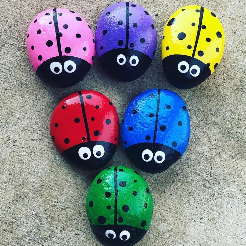 Ladybug Painted Rocks | Etsy