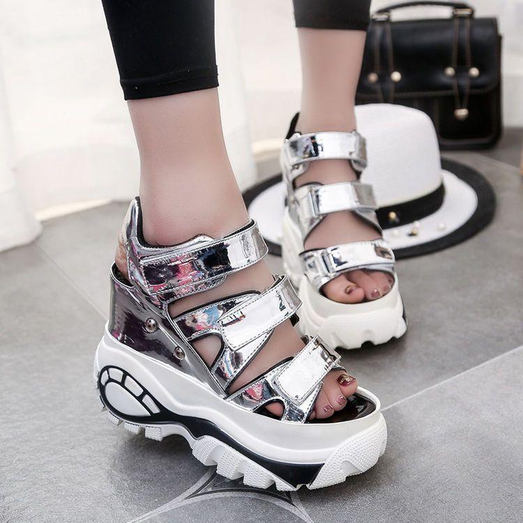 b1618e1b7e1b Summer Goth Womens Hollow High Heel Platform Sandals Open Toe Sneaker Girls  Shoe
