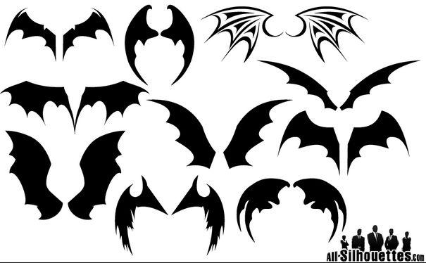 Bat Wings Silhouette Vectors Eps Ai Svg Files Vector Eps Free Wings Drawing Silhouette Clip Art Bat Wings