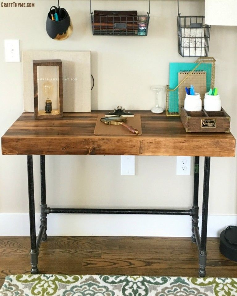 pipe legged desk and stacked wood top tutorial included. Black Bedroom Furniture Sets. Home Design Ideas