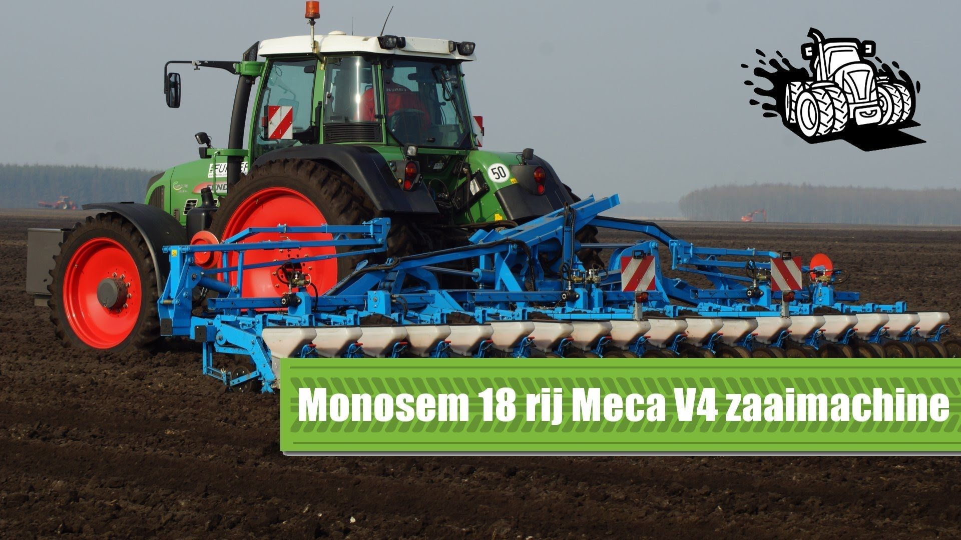 Monosem 18 rij Meca V4 bietenzaaimachine Loonbedrijf Fuhler Emmen Trekke...