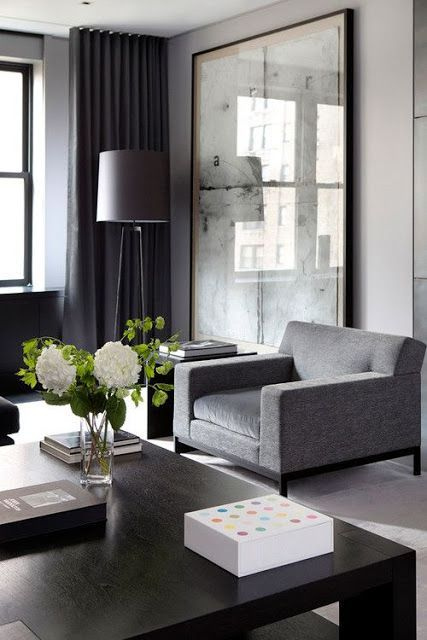 Modern and luxurious living room decor  love the giant framed print floor to ceiling curtains comfy looking armchair also pin by jessica choi on dwell in pinterest rh