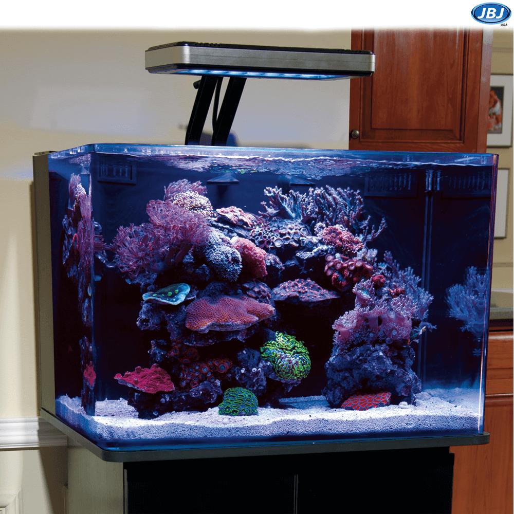Jbj 28 Gallon Nano Cube Quad Powercompact Bulb Aquarium W Mts 60 Cabinet Stand Marine Depot Bulb Aquarium Stand Gallon