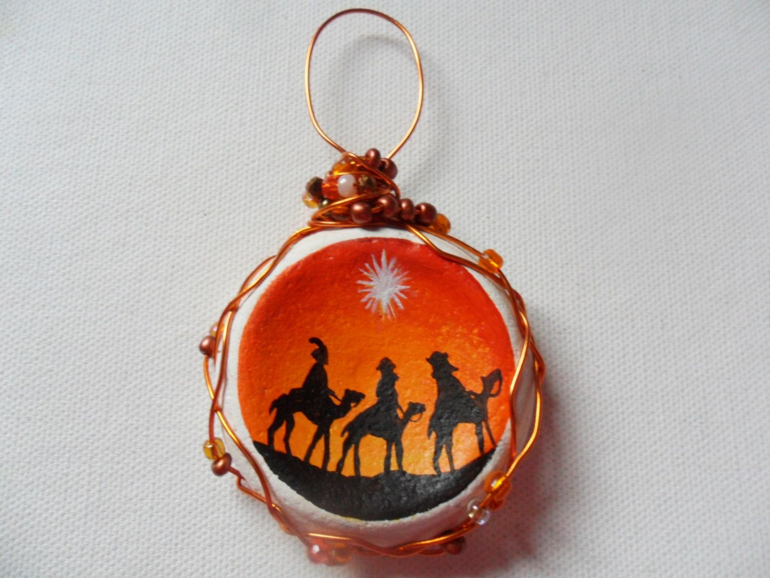 Three kings hanging christmas tree decoration- one of a kind - Large hand…