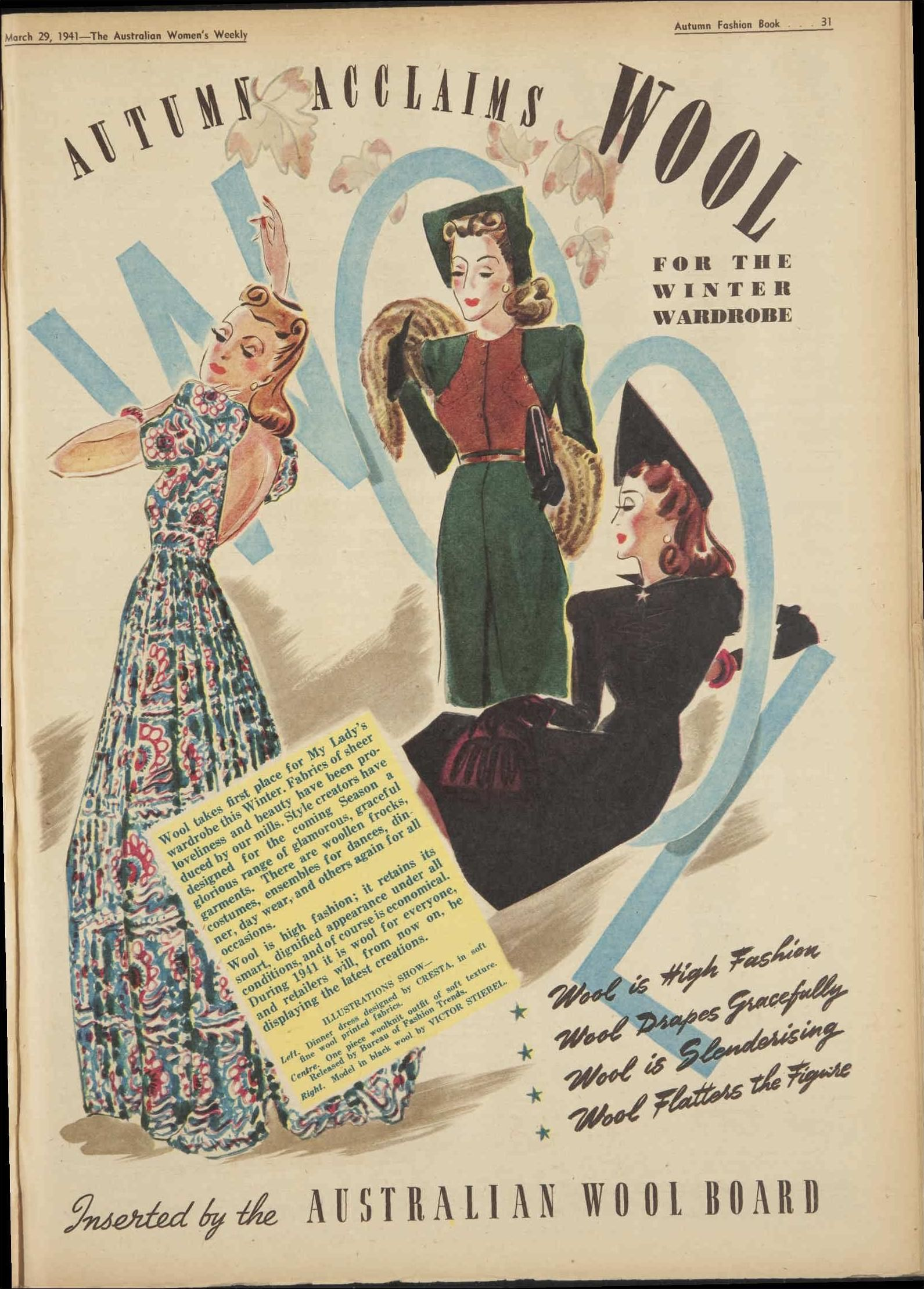 Vintage clothes fashion ads of the 1940s page 22 - The Australian Women S Weekly March 29 1941 1940 S Fashionretro