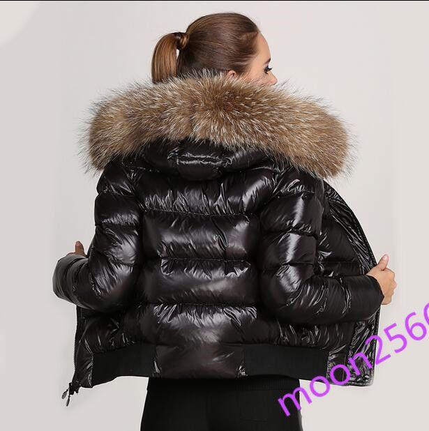 90Duck Racoon Fur Ladies Coat Shiny Down Thick Collar Real 0nXwk8OP