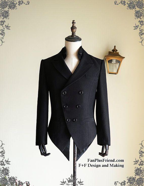 Steampunk Tuxedo Jacket Mens Dress Coat Coattail Black Coat Evening ...