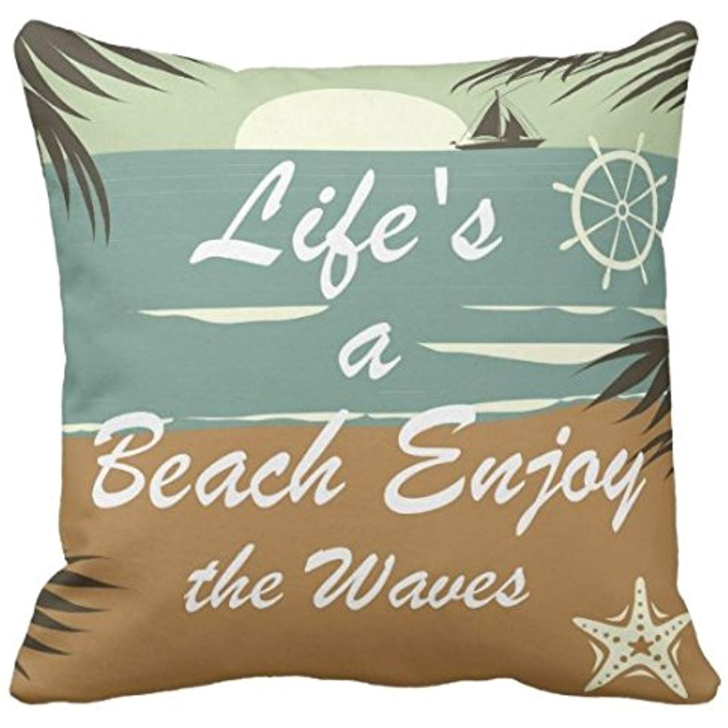 Kissenday 18X18 Inch Life's a Beach Enjoy the Waves Inspirational Quote Fun Saying Cotton Polyester Decorative Home Decor Sofa Couch Desk Chair Bedroom Car Birthday Gift Square Throw Pillow Case >>> Be sure to check out this awesome product. (This is an affiliate link)