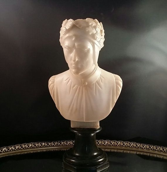 Antique Italian Carved Marble Alabaster Dante Bust Sculpture Figurine Bust Sculpture Sculpture Alabaster