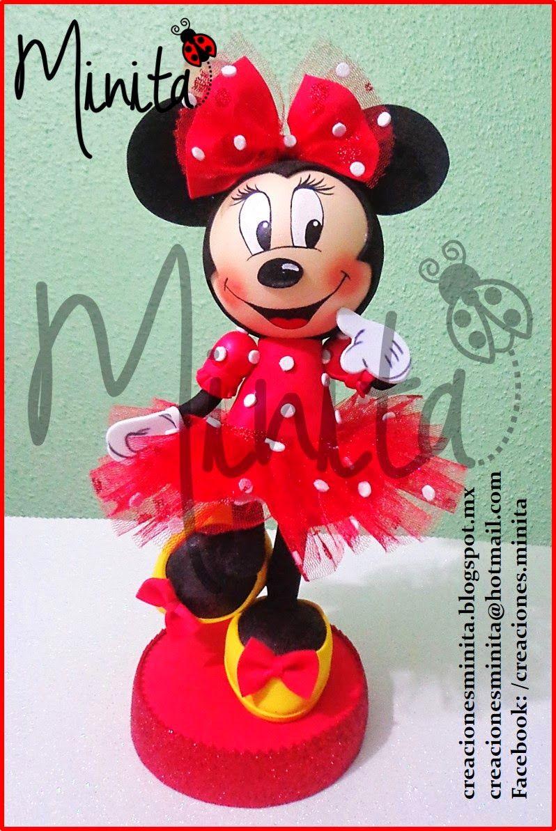 CREACIONES MINITA  Muñeca Minnie Mouse en fomi 3D  a332430ae3d