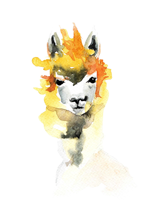 Alpaca art print, Alpaca art, Alpaca print, Alpaca lover gift, Llama ...