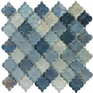 The CB52 Passion Blue Blend from the Crystile Series of Bella Glass Tiles.  Beautiful glass mosaic tile for kitchen backsplash.