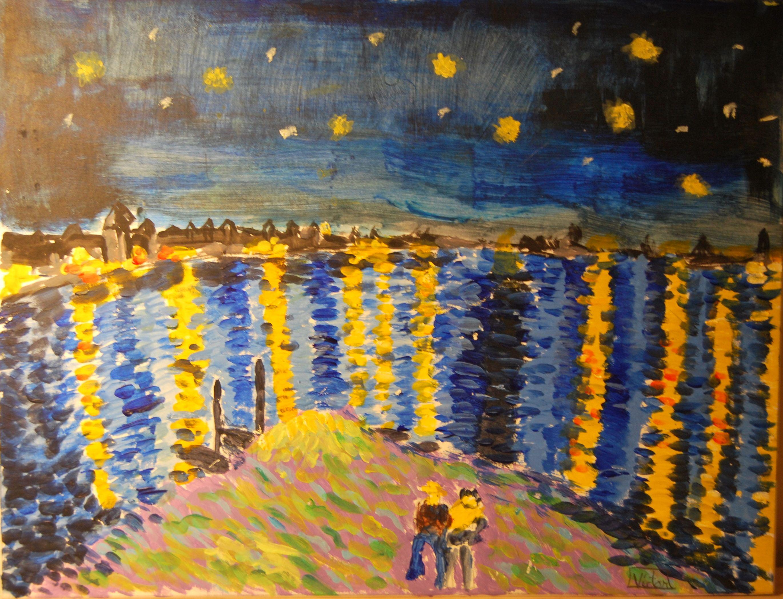 Resultado de imagen de la noche estrellada van gogh para pintar ...