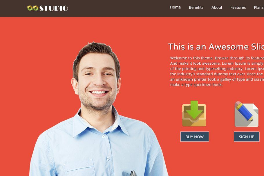 Studio One Page Html5 Template Html5 Templates Html5 Responsive Slider