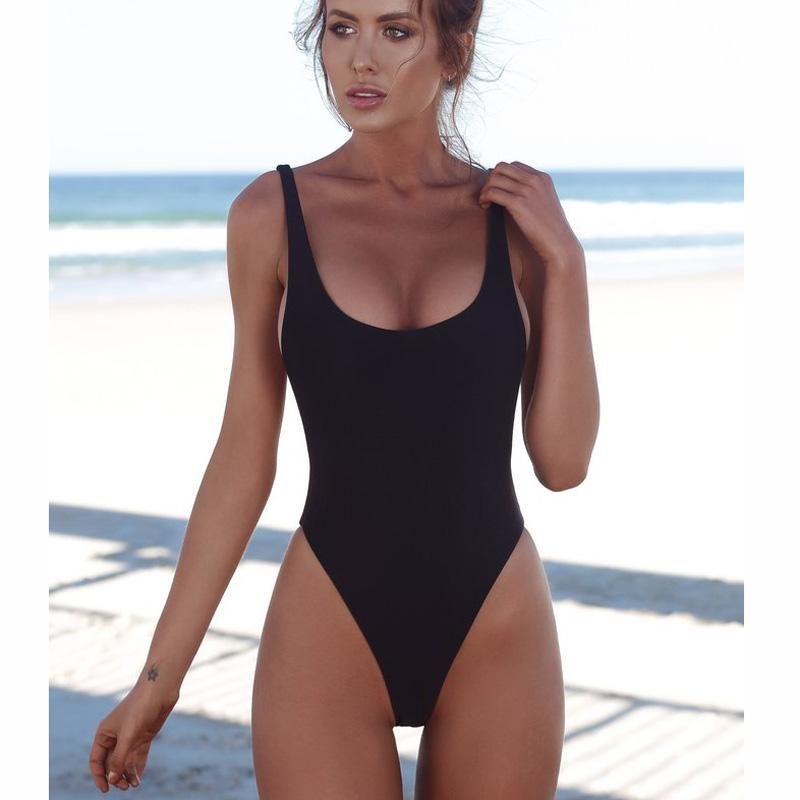 ba51d4028a36 2018 Women One Piece Swimsuit Solid Sexy Black Backless Brazilian Swimwear  Women Fused Monokini Beachwear XL