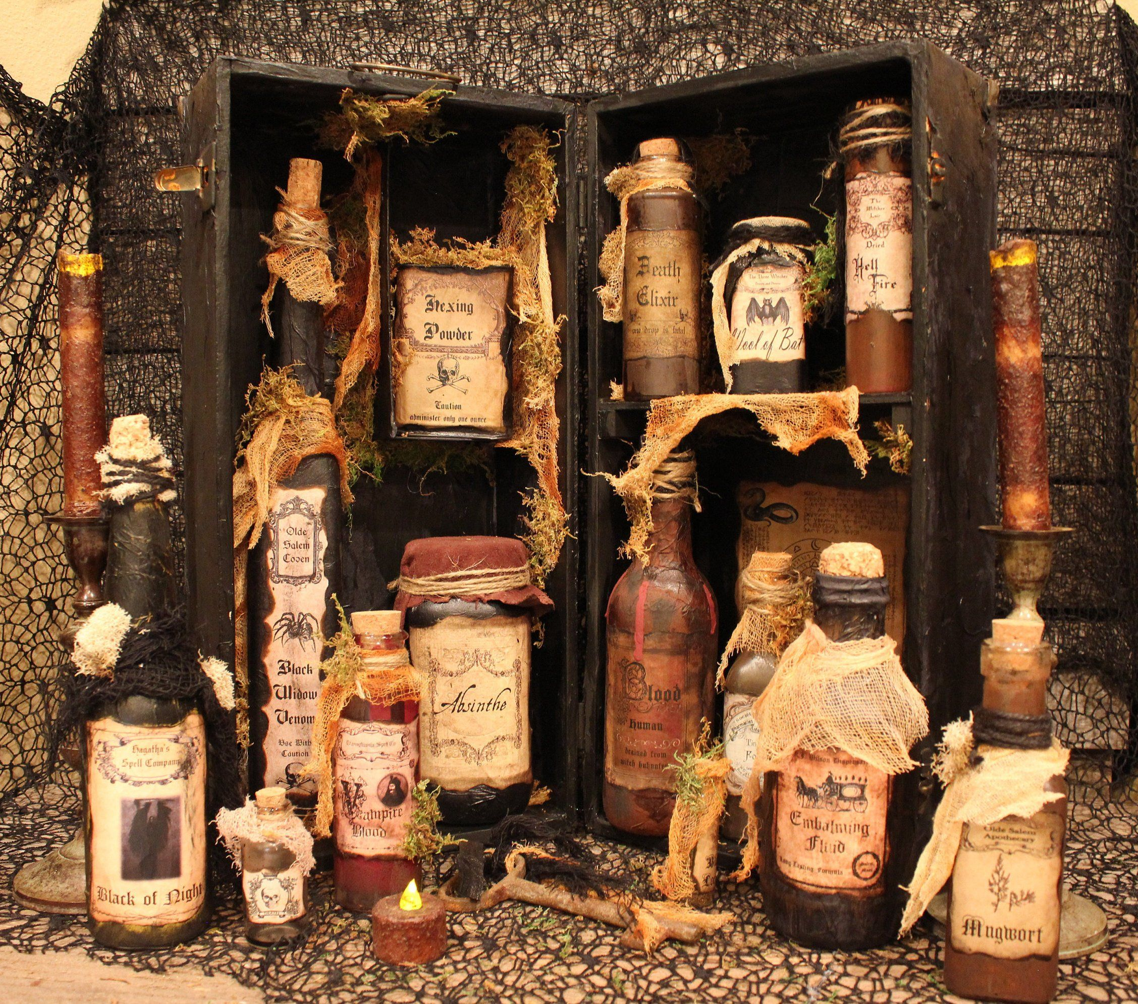 The Witch's Spell Cabinet Halloween Display Vintage