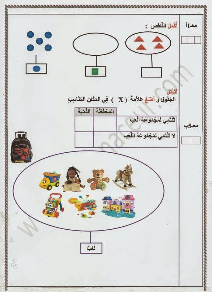 تقييم الفترة الأولى رياضيات س1 Math Education Map