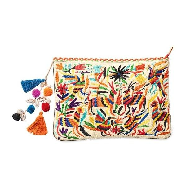 Women's Steven By Steve Madden Embroidered Animal Clutch ($75) ❤ liked on  Polyvore featuring