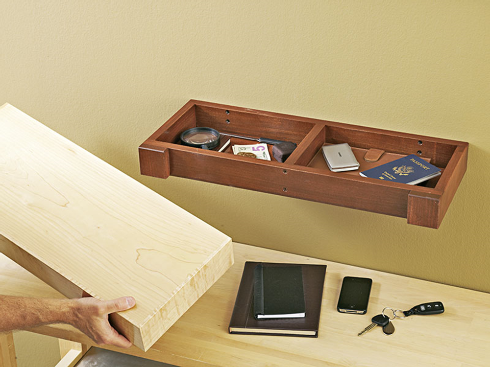 A friend of mine swears, It all comes down to guns and money. This wood be perfect for hiding those... or whatever else. - Hidden-compartment Wall Shelf Woodworking Plan from WOOD Magazine #woodworking