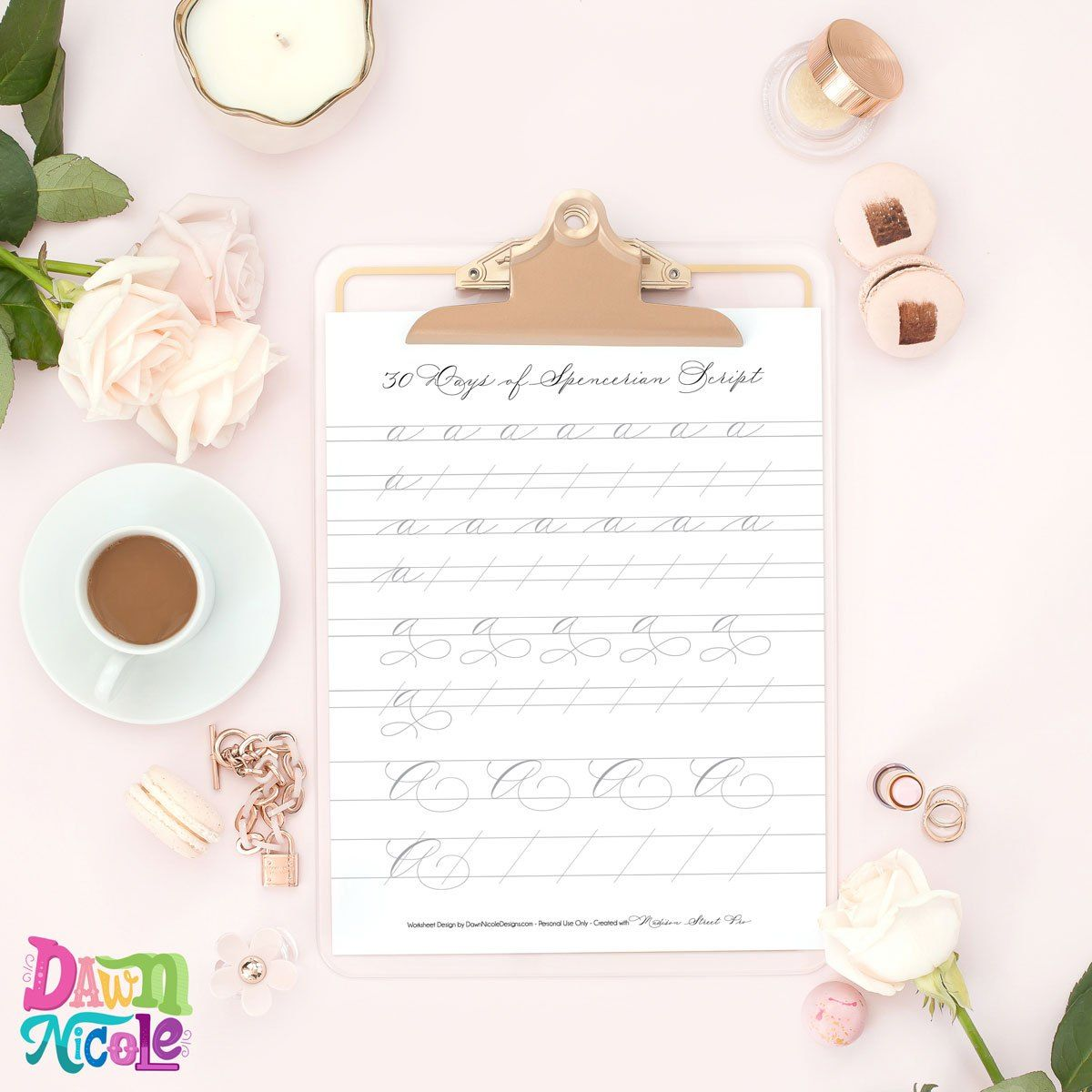 Spencerian Script Style Letter A Worksheets