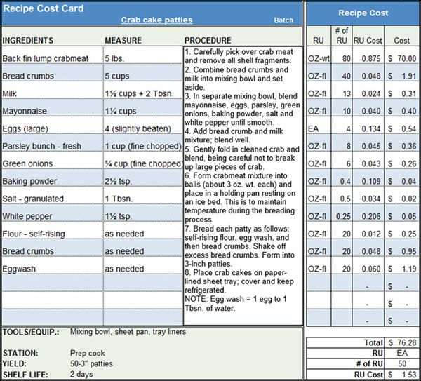 Menu recipe cost spreadsheet template restaurant for Food costing sheet template