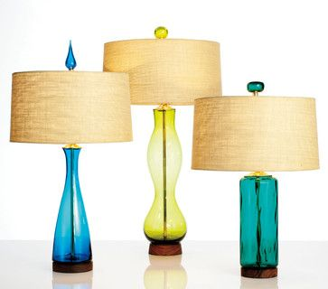 Blenko Glass Iconic Mid Century Modern Table Lamps Contemporary