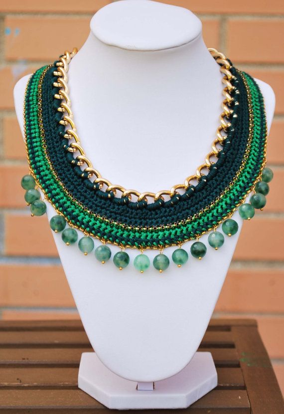 green Crochet necklace gold chain necklace with beads by kolibry ...