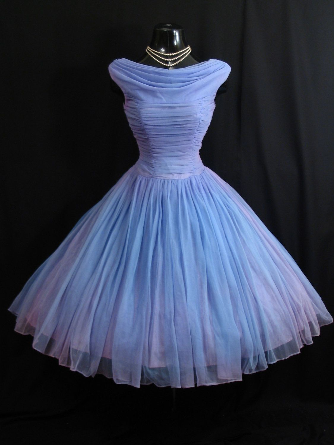 A Periwinkle Chiffon 1950s Dress, all ruched and gathered and ...
