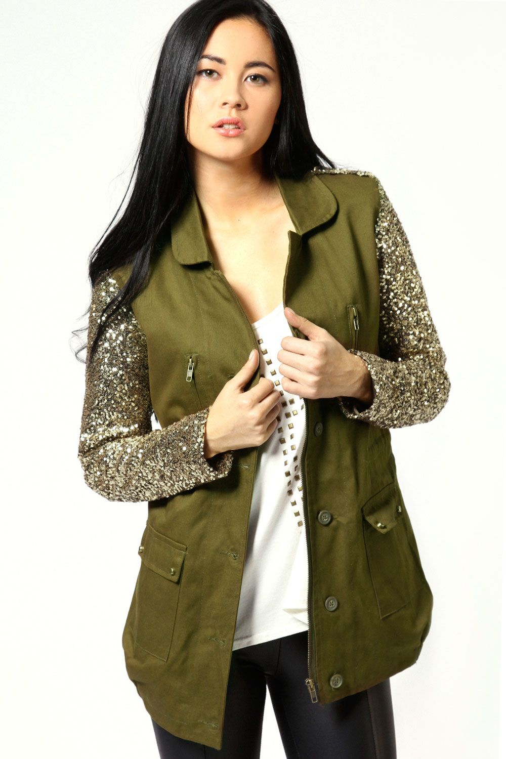 Serena sequin sleeve military jacket my style pinterest