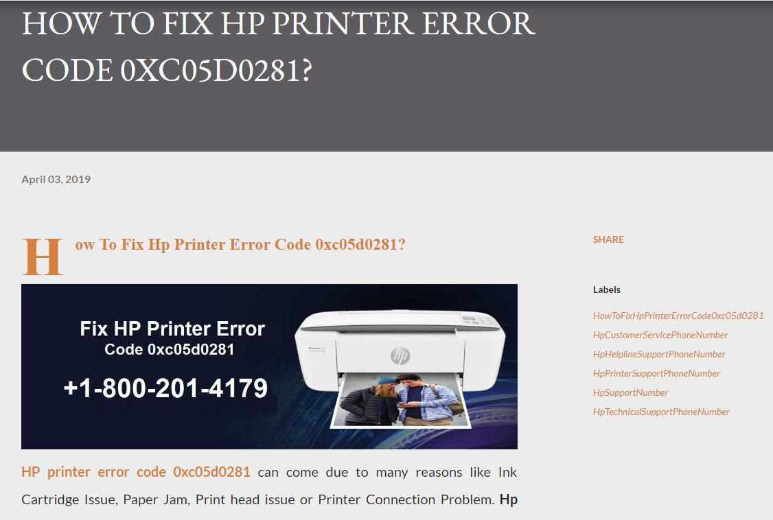 HP printer error code 0xc05d0281 can come due to many reasons like