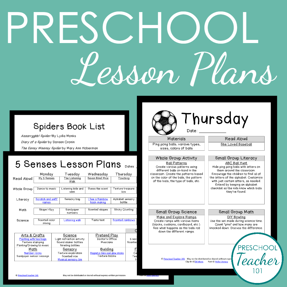 Preschool Lesson Plan Template for Weekly Planning | Lesson plan ...
