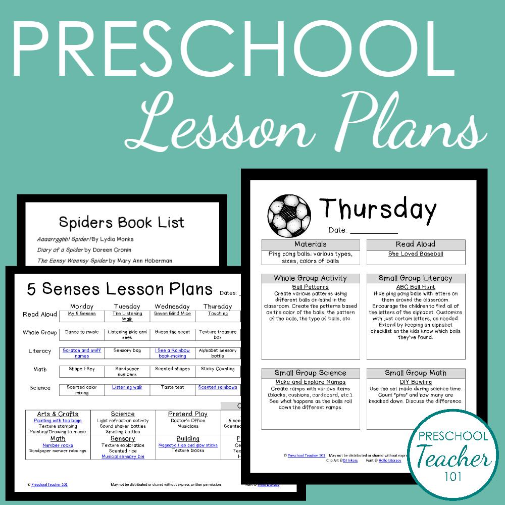 Preschool Lesson Plans Sample