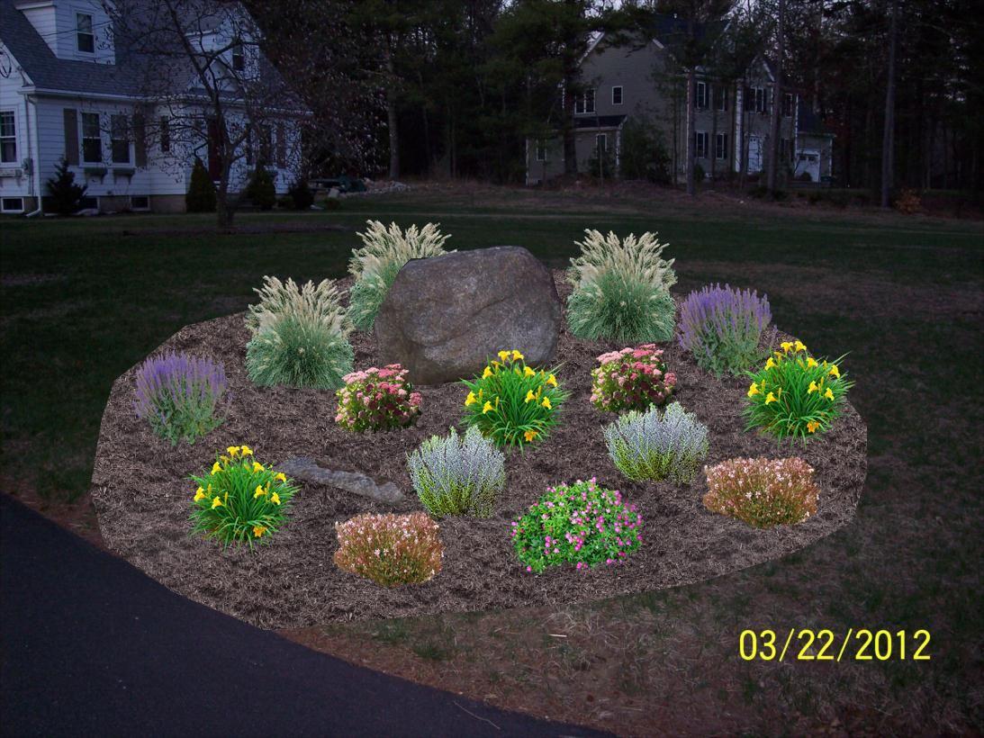 Front Yard Landscape Design Ma Landscaping Rock
