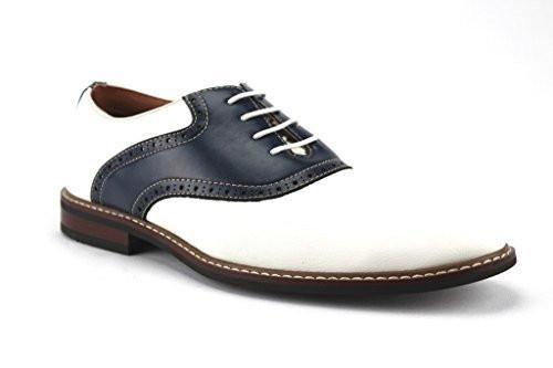 Men's 19268A Two Tone Saddle Lace Up Oxfords Dress Shoes