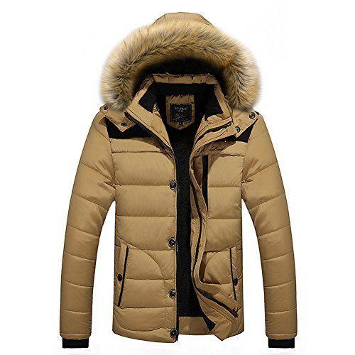 57b0193b8368 Chaud Casual Slim Homme hiver chaud Manteaux manches longues à capuche  amovible (L